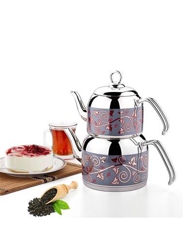 Özkent 306 Menekşe Mini Desenli Çaydanlık Çelik Saplı Renkli